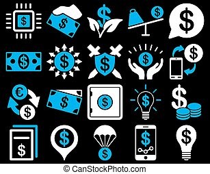 Dollar Icons - Dollar Icon Set These flat bicolor icons use...