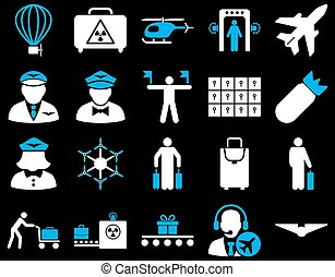 Airport Icon Set These flat bicolor icons use blue and white...