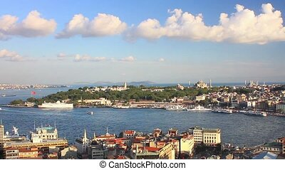 Panoramic view from Galata Tower - Istanbul. Looking over...