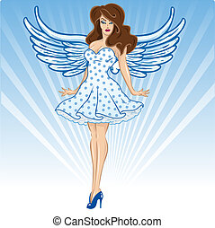 Sexy female angel or cupid figure vector illustration