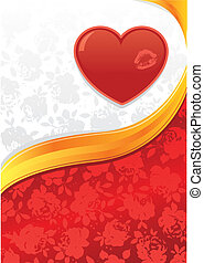 Valentines heart and roses background vector illustration