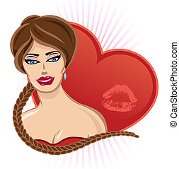 Smiling Valentines pin up with heart and lips print vector illustrationFully editable. View my full portfolio for similar images.