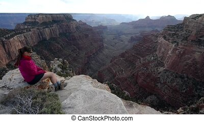 Hiker Girl at Bright Angel Point Grand Canyon North Rim...