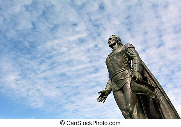 Christopher Columbus sculpture against sky in San Fransisco,...