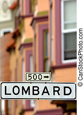 Lombard St - Street sign in San Francisco CA - Lombard St -...