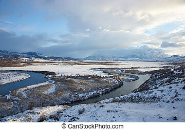 Winter in Torres del Paine - Winter landscape of lakes and...