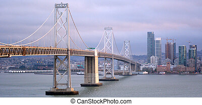 Aerial view of Oakland Bay Bridge San Francisco as seen from...