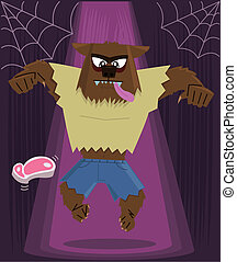 Werewolf halloween character vector illustration