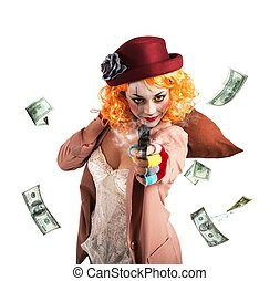 Clown thief steals money - Clever thief clown thief steals...
