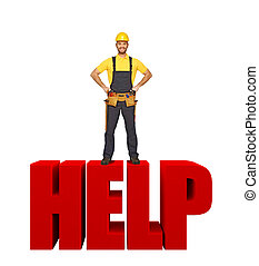 handyman offer his help - funny handyman pose standing on...