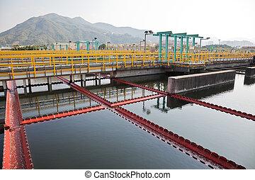Sewage treatment plant - Sedimentation tanks in a sewage...
