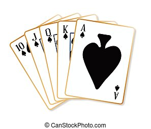 Ace Spades Flush - Playing cards making a ace spades flush...