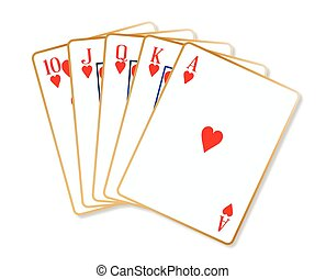 Ace Hearts Flush - Playing cards making a ace hearts flush...