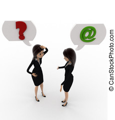 3d woman communication problem concept