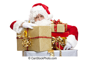 Santa Claus is leaning on Stack of Christmas presents...