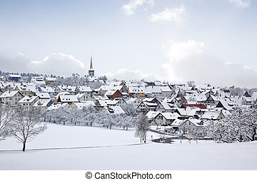 winter village - A photography of a winter village snow land