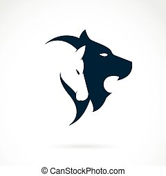 Vector image of an lion head and horse head on white...