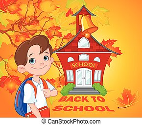 Schoolboy - Illustration of schoolboy goes to school