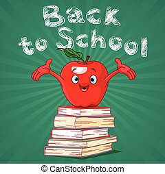 Back to School - Back to school design of red apple on pile...