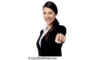 You are selected - Happy businesswoman pointing her finger...