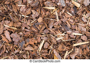 Natural bark used as a soil covering for mulch in the...