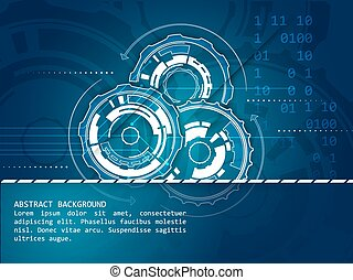 Abstract technology background with gear wheels pattern,...