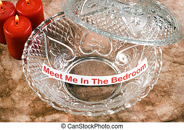 Erotic Memo - An erotic memo left inside a glass candy dish...