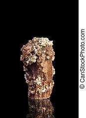 aragonite, piedra preciosa, con, reflexión, negro,...