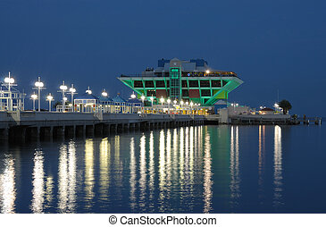 Pier in St Petersburg at night, Florida USA
