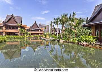 view of vacation resort from the gardens
