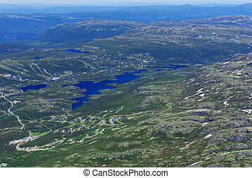 Panoramic view from Gaustatoppen mountain at sunny summer...