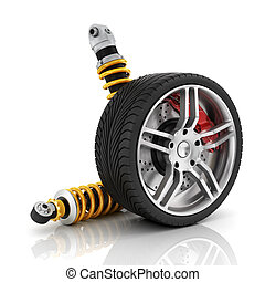 Car wheel with brakes, absorbers, tires and rims on the...