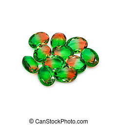 Bicolor gems on a white background Watermelon color