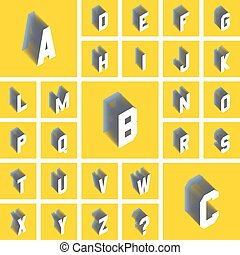 Alphabet set. 3d vector illustration. Design elements.