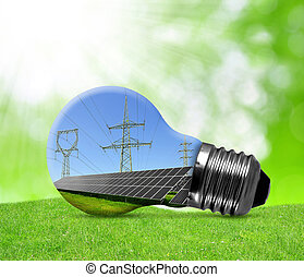 Eco light bulb - Solar panels with pylons in light bulb....