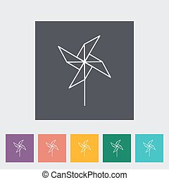 Whirligig thin line flat vector related icon set for web and...