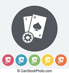 Blackjack Single flat icon on the circle button Vector...