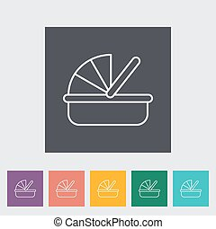 Cradle thin line flat vector related icon set for web and...