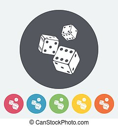 Craps icon - Craps. Single flat icon on the circle button....