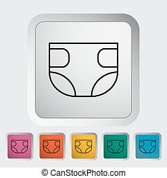 Diaper thin line flat vector related icon set for web and...