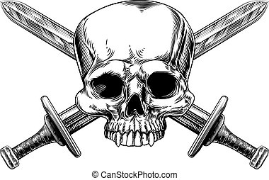 Skull and Cross Swords Woodcut - A human skull and crossed...