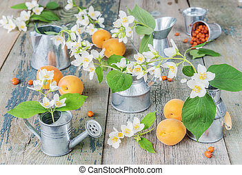 Spring still life with jasmine flowers in a metal dishes and...