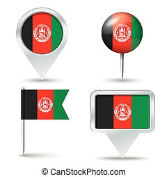 Map pins with flag of Afghanistan