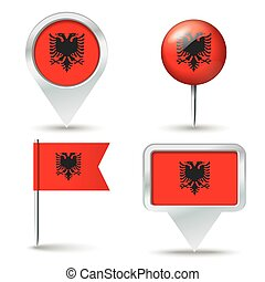 Map pins with flag of Albania