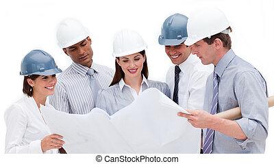 sonriente, Arquitectos, estudiar, cianotipo