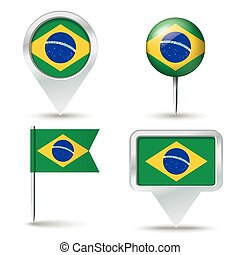 Map pins with flag of Brazil