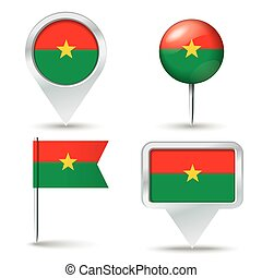 Map pins with flag of Burkina Faso