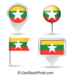 Map pins with flag of Burma - vector illustration