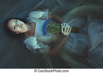 Girl is drowned under water. - The girl is drowned under...