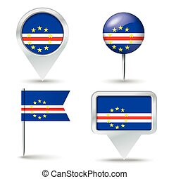 Map pins with flag of Cape Verde